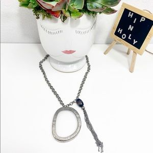 CHICO'S SILVER PENDANT NECKLACE WITH BLUE STONE